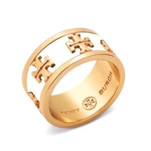 Tory Burch Ivory Enamel Raised Logo Ring